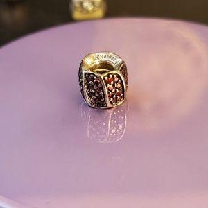 Chamilia maroon/red bead with swarovski crystals